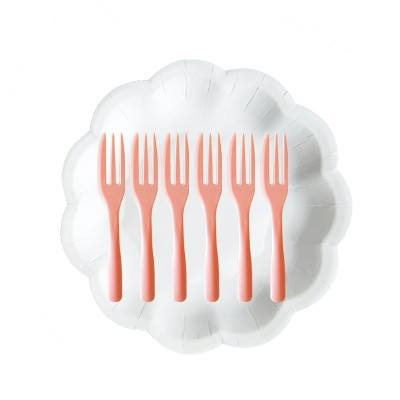 Cake Plate Pack With Peach French Fork - Paper Plate With Peach Fork