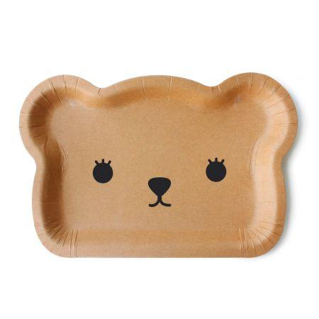 प्यारा भालू कागज केक प्लेट - क्राफ्ट पेपर भालू के आकार का स्टाइलिश केक प्लेट