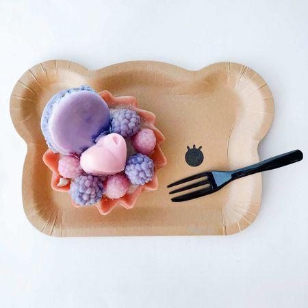 Bear Cake Plate and Black Cake Fork For Tart Cake