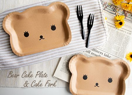 Bear-shaped Cake Plate and Dessert Fork