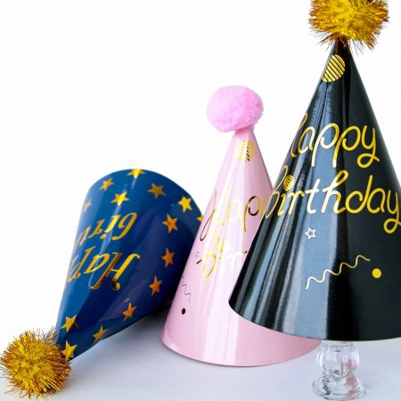 Colorful Party Hat - Tair Chu partyware: three-color party hat, the color are black, blue and pink