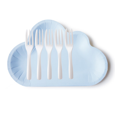 बादल के आकार का और केक कांटा के साथ ब्लू केक प्लेट - आकर्षक मेघ प्लेट और केक कांटा