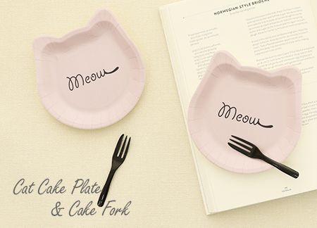 연근 보라색 고양이 접시 포크 세트