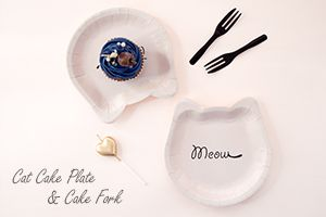 Cat-shaped Cake Plate and Dessert Fork