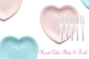 愛心造型蛋糕盤叉組