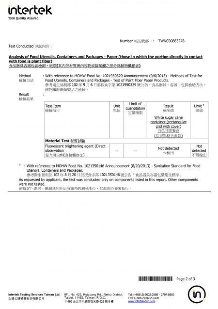 2020 Sugarcane Lunch Box Intertek Testing Report