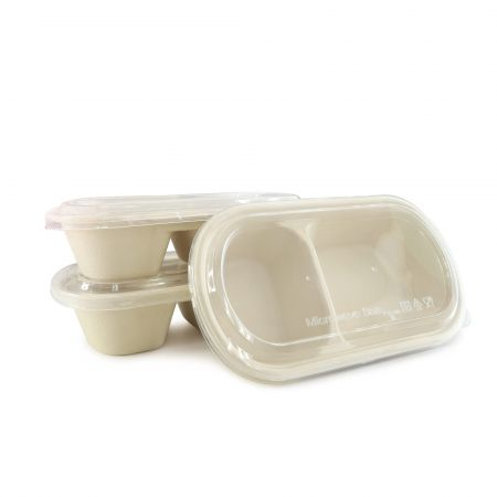 Oval Bagasse Compartments Lunch box and Plastic Clear Lid(800ml) - 2 compartment sugarcane food box and plastic transparent lid