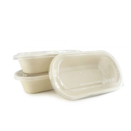 Oval Bagasse Food Container and Transparent Lid(800ml) - Oval disposable biodegradable food container and clear lid