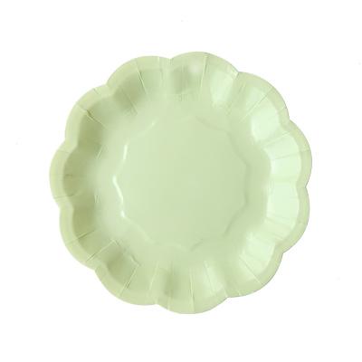 Green Flower Cake Plate