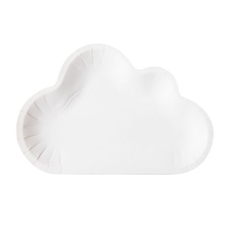 Party Plate With Cloud Shaped - White Color Cute Cake Plate