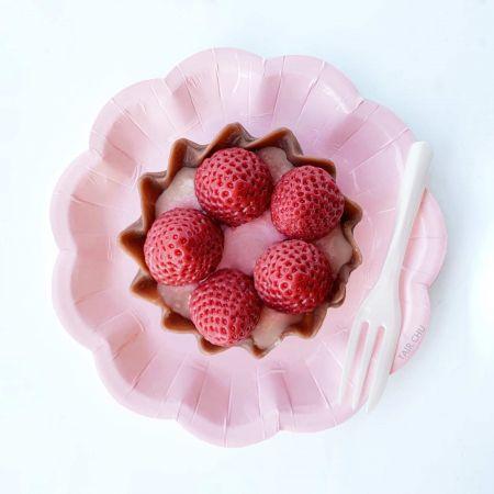 Pink Flower Cake Plate and White Cake Fork For Tart Cake