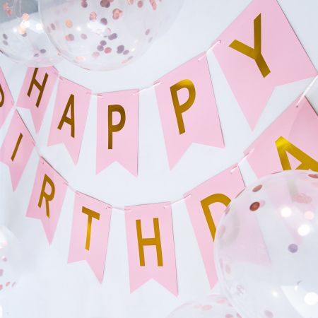 HAPPY BIRTHDAY Party Banner With Balloon - Tair Chu partyware: Happy birthday party banner and 5 pieces of ballon.