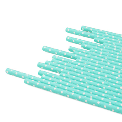 D6*L195mm Paper Straw With Polka Dot - D:6mm Paper Straight Straw