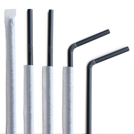 D6*L210mm CPLA Compostable Flexible Straw(Single Wrapped) - diameter 6mm* length 210mm Single Wrapped Straight Biodegradable straw for tea
