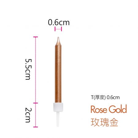 Card Candle Rose Gold Color
