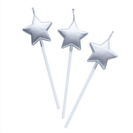 10 सेमी सिल्वर स्टार के आकार की मोमबत्ती - आइए उपयोग करें      TAIR CHU जन्मदिन की पार्टी में केक के समय का आनंद लें!