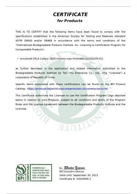 BPI Certificate