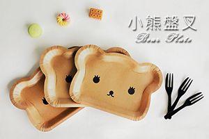 प्यारा भालू प्लेट और केक कांटा