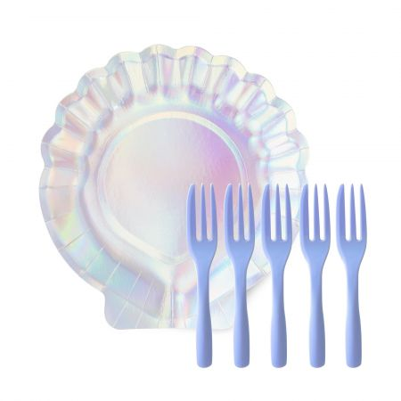Iridescent Shell Cake Plate Set - The shell-shaped cake plate set is for an exclusive party of a dreamy ocean theme. The shell paper plate has pearl sparkle, collocation with the lavender cake fork, let's go to the ocean party together.
