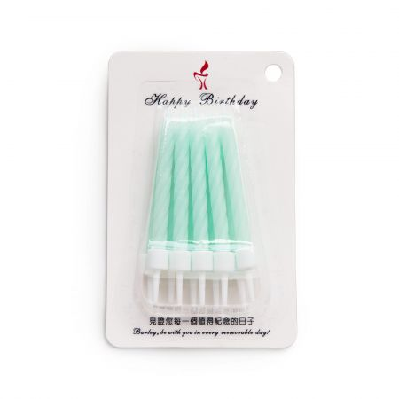 7.5cm Mint Color Spiral Candle - Let's use TAIR CHU mint color twisted candle to enjoy the cake time in birthday parties!