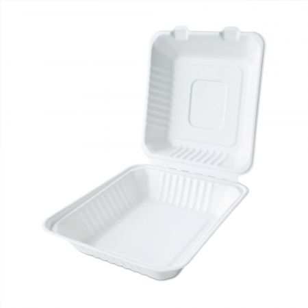 Clamshell Big Size Bagasse Meal Box - Clamshell single-cell bagasse lunch box