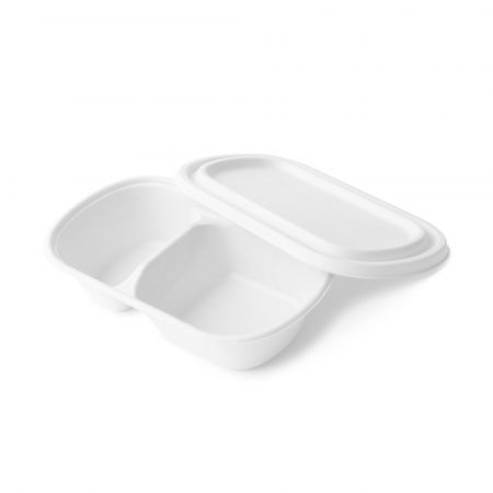 Oval Bagasse Compartments Container(800ml) - Sugarcane food box with 2 compartment