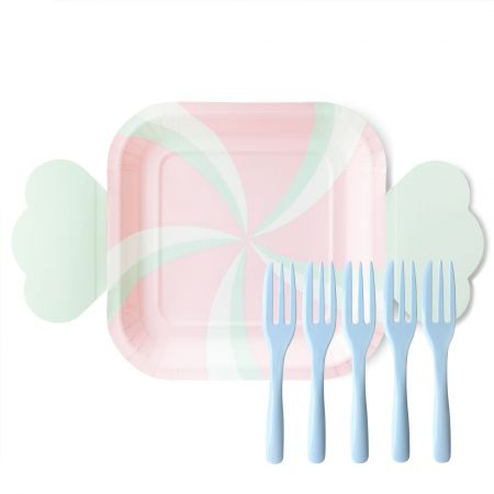 Cute Candy Shaped Cake Plate And Fork - The cute candy paper plate is indispensable at kids and girls' birthday parties. When the candy plate goes with the cotton candy blue-colored cake fork, we as in a candy world.