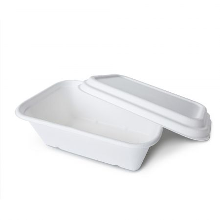 Bagasse Rectangle Lunch Box(1300ml) - 1300ml eco-friendly bagasse lunch box with lid