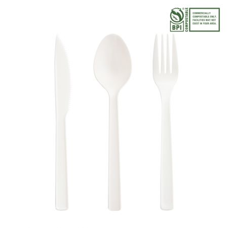 16.5cm Eco-Friendly Cutlery Set - Tair Chu CPLA Heat-resistant cutlery.