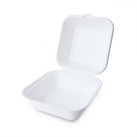 Clamshell Bagasse Hamburger Container - Sugarcane food box, sugarcane paper box for hamburger