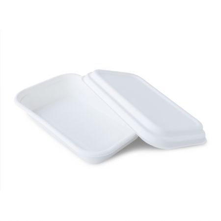 Sugar Cane Rectangle Meal Container(750ml) - 750ml white disposable sugarcane lunch box with lid