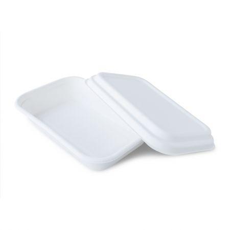 Bekas Makanan Tebu Tebu (750ml) - Kotak makan tengah hari tebu putih 750ml dengan penutup