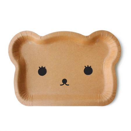 Cute Bear Paper Cake Plate - KraftPaper Bear-shaped Stylish Cake Plate