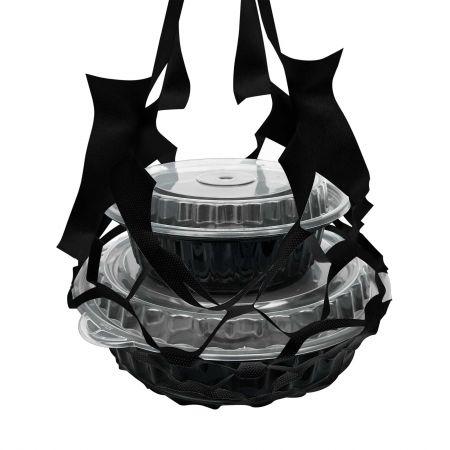 ब्लैक फूड बॉक्स नेट बैग - चार कप - भोजन बॉक्स के लिए काले शुद्ध बैग