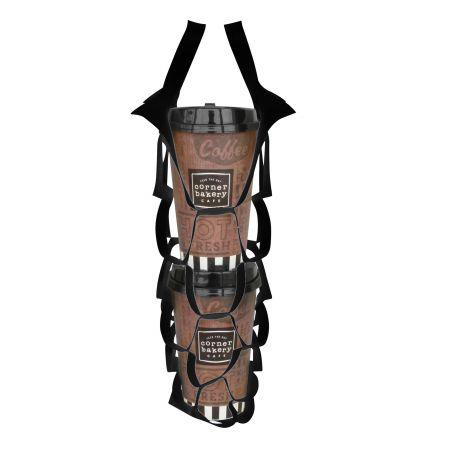 ब्लैक टेक अवे नेट बैग - दो कप - दो कप के लिए ब्लैक कॉफी नेट बैग