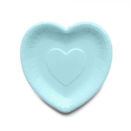 बेबी गुलाबी दिल के आकार का केक प्लेट - नीला रंग स्टाइलिश केक प्लेट
