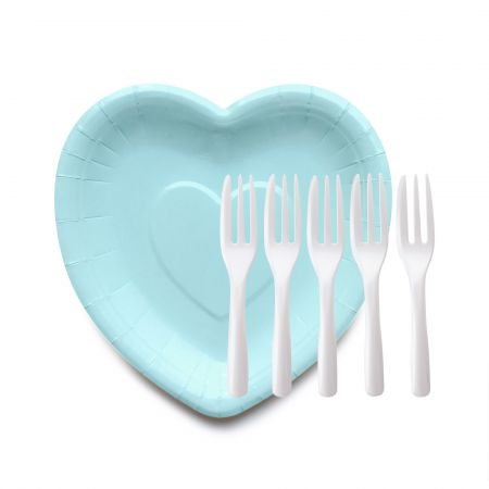 BabyBlue Heart Shaped Paper Cake Plates with Cake Forks - Unique Heart Shaped Plates and Cake Fork