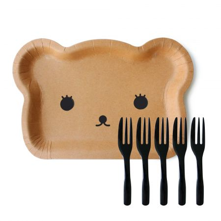 Bear-Shaped Cake Plates With Black Cake Forks - Bear-Shaped Cake Plate and cake fork