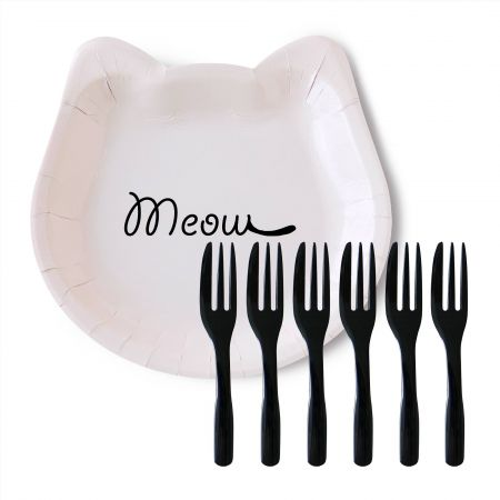Cat Cake Plate With Black Cake Fork