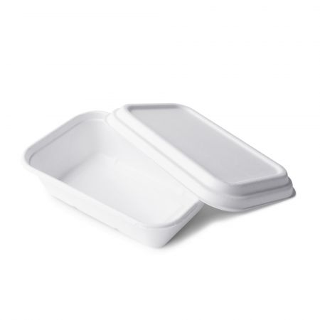 Bagasse Rectangle Meal Container(1000ml) - 1000ml disposable bagasse meal box with lid