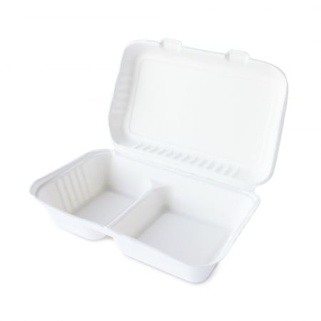 Bagasse Rectangle Meal Container(1000ml) - clamshell disposable bagasse meal box