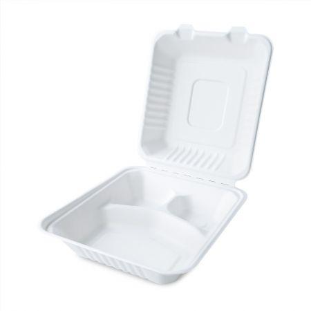 Clamshell Three Grid Bagasse Packing Box - Three grid clamshell disposable bagasse meal box