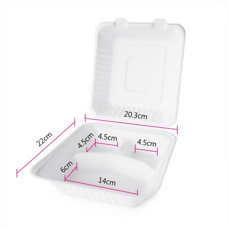 Three Grid Bagasse Packing Box