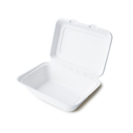 Clamshell Bagasse Compartments Food Container(600ml) - clamshell disposable biodegradable food container