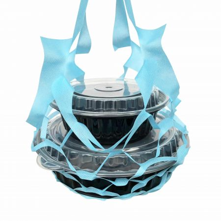 Sky Blur Food Box Net Bag - four cups - sky blue net bag for food box