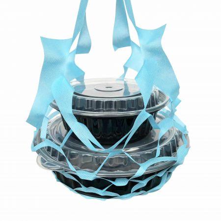 स्काई ब्लर फूड बॉक्स नेट बैग - चार कप - फूड बॉक्स के लिए स्काई ब्लू नेट बैग
