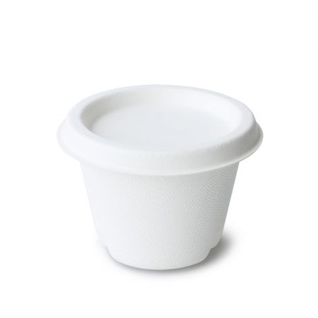 4oz White ECO-Friendly Sauce Cup - 4oz bagasse paper cup for sauce
