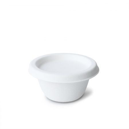 2oz White ECO-Friendly Sauce Cup - 2oz sugarcane food cup for sauce