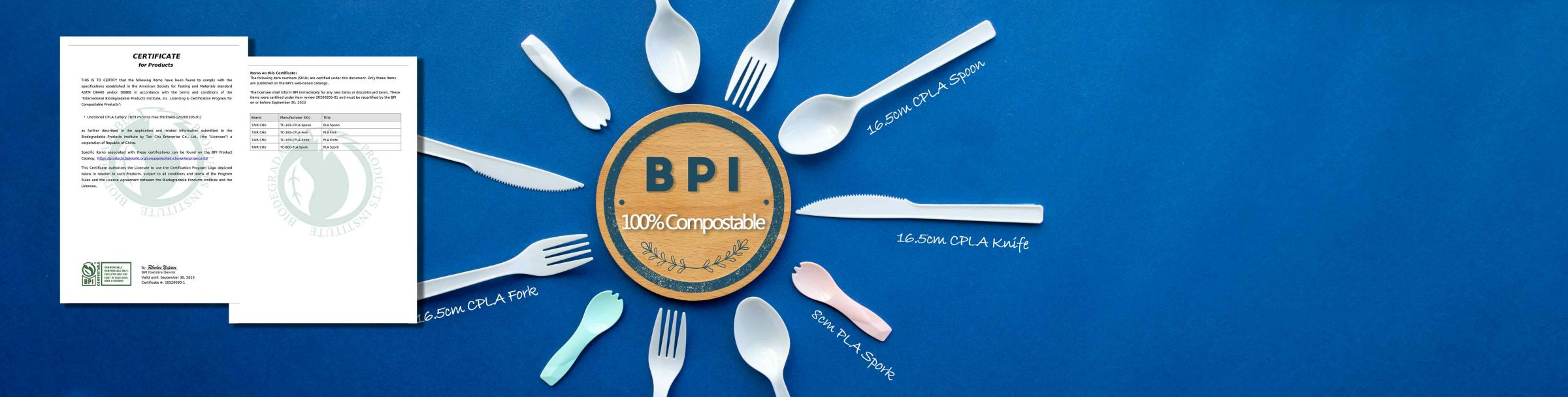 Corn Starch Cutlery Get BPI Certification 100% Compostable
