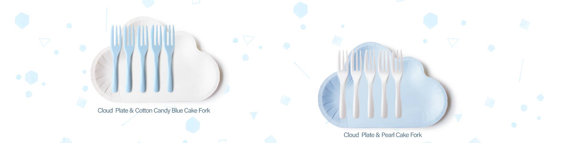 New Color Cloud Cake Plate & Fork